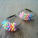 Summer colourful hoop earrings