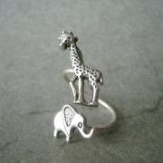 silver elephant giraffe ring wrap style, adjustable ring, animal ring
