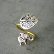 Silver elephant ring with a leaf, adjustable ring, animal ring