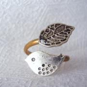 silver bird ring with a leaf open wrap style, adjustable ring, animal ring