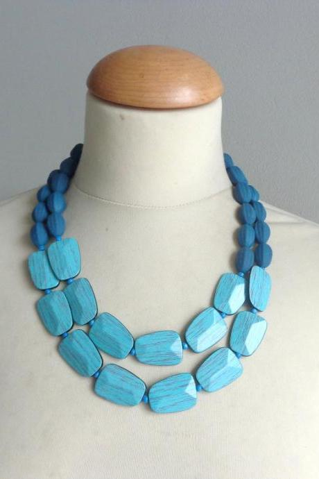 Turquoise blue statement necklace