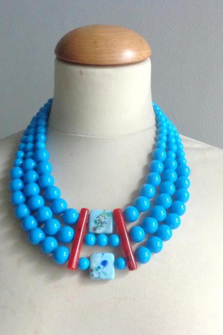Handmade Blue Three Layer Glass Bead Statement Necklace