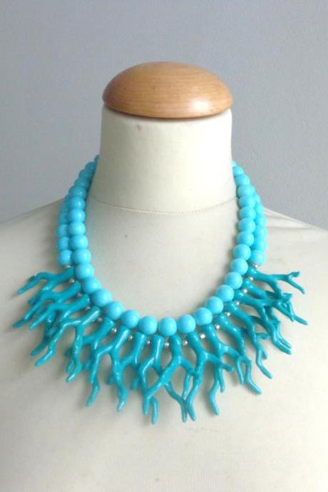 Turquoise coral branch necklace, coral branch statement