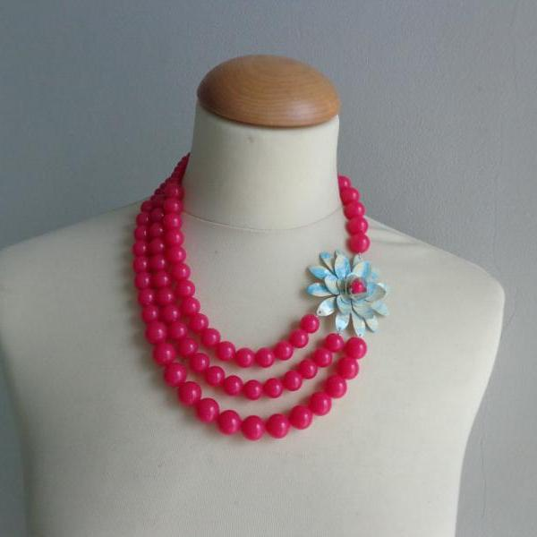 Warm pink turquoise statement necklace with flower, bridal