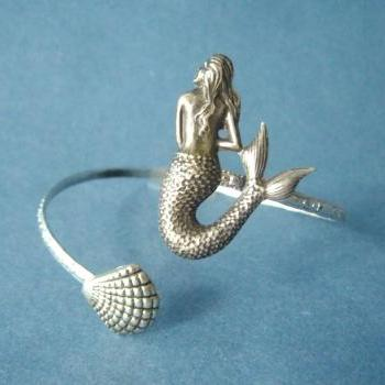 mermaid bracelet with a shell, wrap jewelry