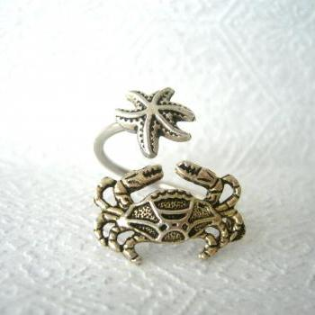 crab ring with a shell wrap style, adjustable ring, fish ring
