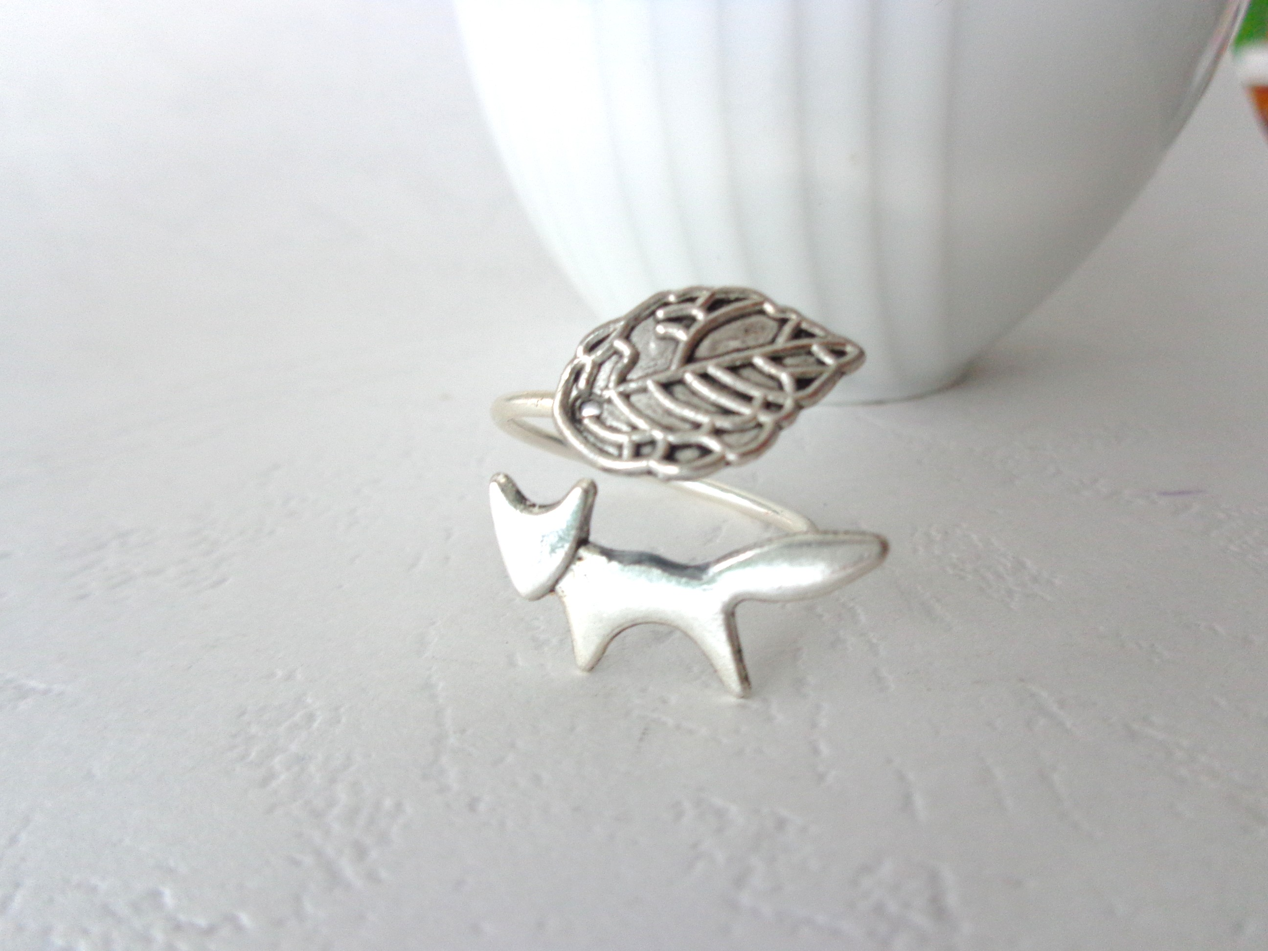Silver Fox Ring With A Leaf Wrap Ring Adjustable Ring